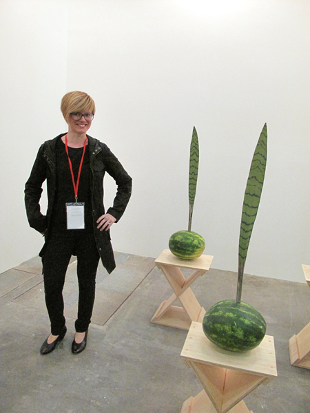 Katy Diamond Hamer with the work of Reginaldo Pereira, Casa Triangulo, Brasil, artBO, Installation view, Bogotá, Colombia, Photograph by Marek Bartelik, 2013