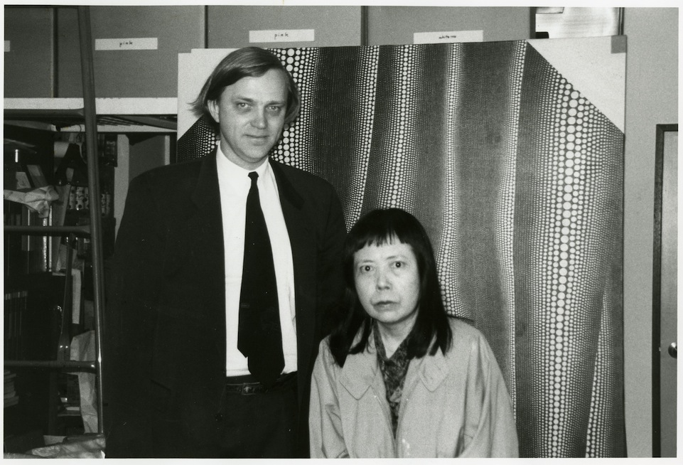 Robert Storr with Yayoi Kusama, circa 1998 Photograph courtesy of Robert Storr, 2013