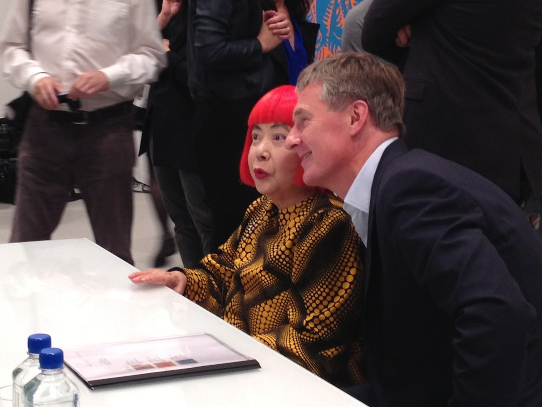 Yayoi Kusama and Gallerist David Zwirner at the Press Preview for Kusama's inaugural exhibition with the gallery, 2013