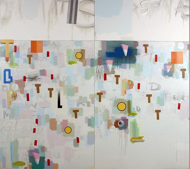 "Craig Drennen, Dramatis Personae, 2010, oil, alkyd on canvas, 78"" x 80"""