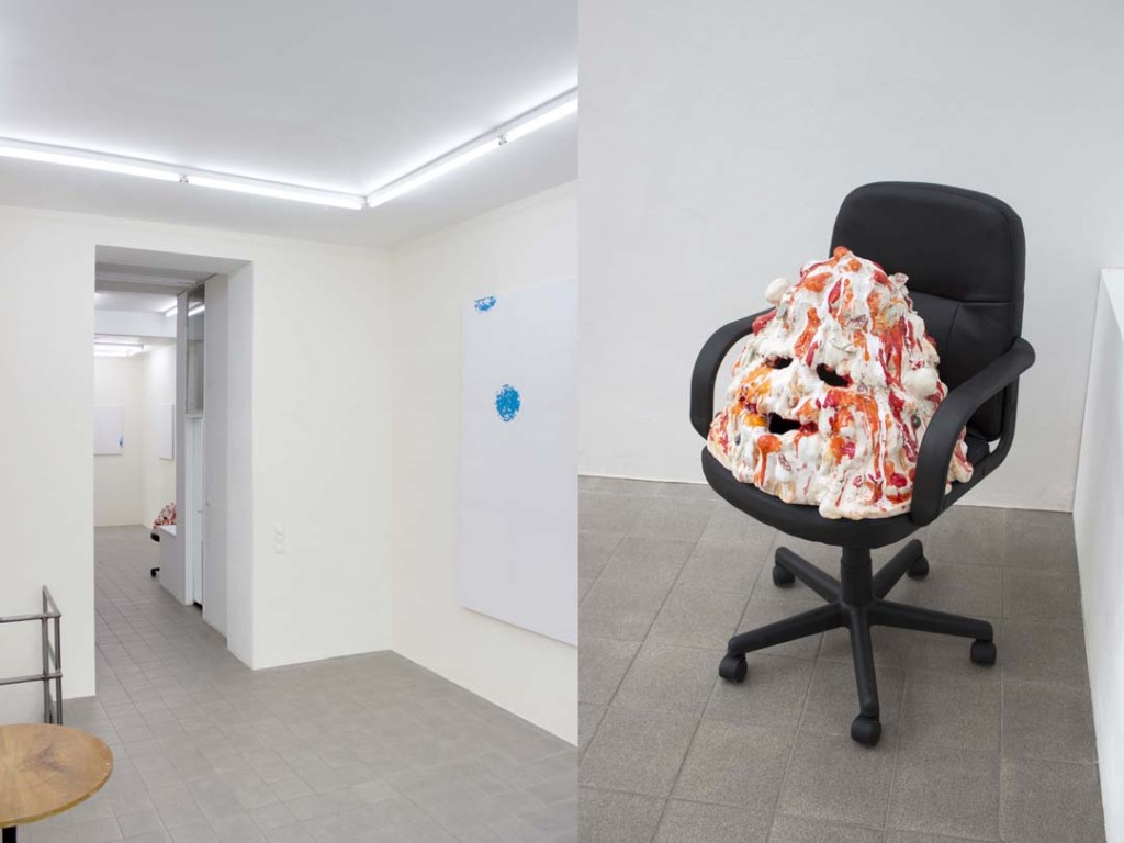 """View (right) of Marco Bruzzone's """"Set Membership"""" and Sending Out For You (2014) (left) at Gillmeier Rech, Berlin"""