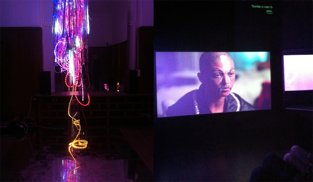 """Installation view (right) from Wu Tsang's """"A day in the life of bliss"""" and video still at Isabella Bortolozzi, Berlin"""