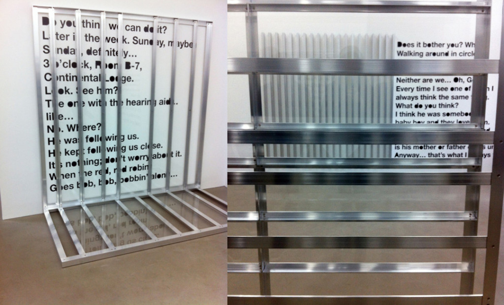 """Installation view from Liam Gillick's """"Revenons à Nos Moutons"""" at Esther Schipper, Berlin"""