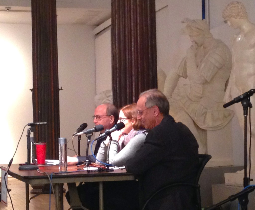 Jerry Saltz, Roberta Smith and host Randy Cohen for Person, Place, or Thing Podcast taping, NYAA, NY