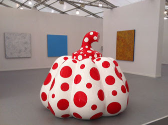 Yayoi Kusama (sculpture in foreground) Image courtesy of David Zwirner Gallery, NY