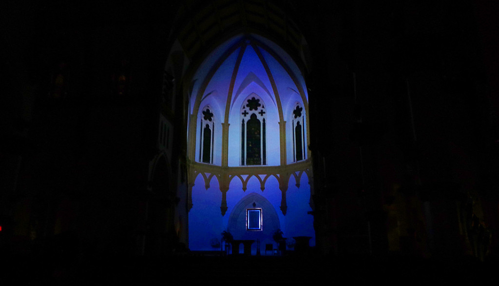 Anne Katrine Senstad, Dallas Aurora, projection installation at Cathedral Shrine of the Virgin of Guadaloupe. Image courtesy of the artist, 2014