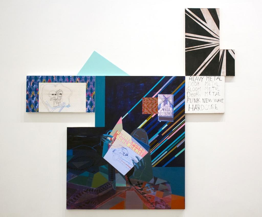 Kristen Schiele, Heavy Metal, Mixed media painting on various surfaces, Spirit Girls, Lu Magnus, New York, 2014. Image courtesy of the artist