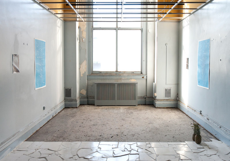 Installation view by Samuel Draxler of work by Aaron Gemmill and Sam Payne at SPRING/BREAK, 2015