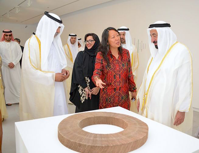 Sharjah Biennial opening, left to right, HH Sheikh Nahyan bin Mubarak, HE Sheikha Hoor Al Qaimi, SB12 Curator Eungie Joo, HH Sheikh Khalid Al Qasimi and HH Sheikh Sultan Al Qasimi. Photo by Alfredo Rubio, 2015
