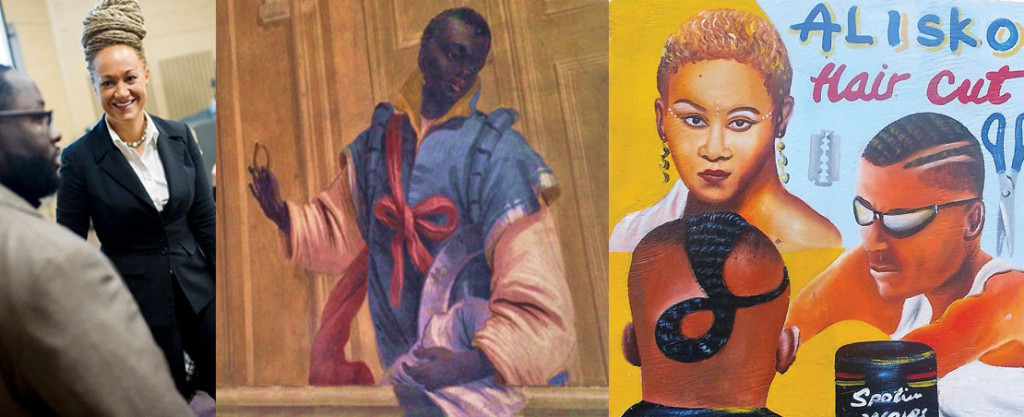 Rachel Dolezal, An image of blackness from the Italian Renaissance taken in Venice, Italy (2015), A Ghanain sign promoting hairstyles, Photomontage by Katy Hamer