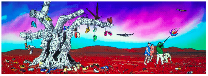 "Paul Chan, ""My birds . . . trash . . . the future"", 2004, Two-channel video installation, courtesy of Greene Naftali"