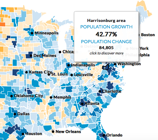 Harrisonburg's Population Growth from 2015 - 2030