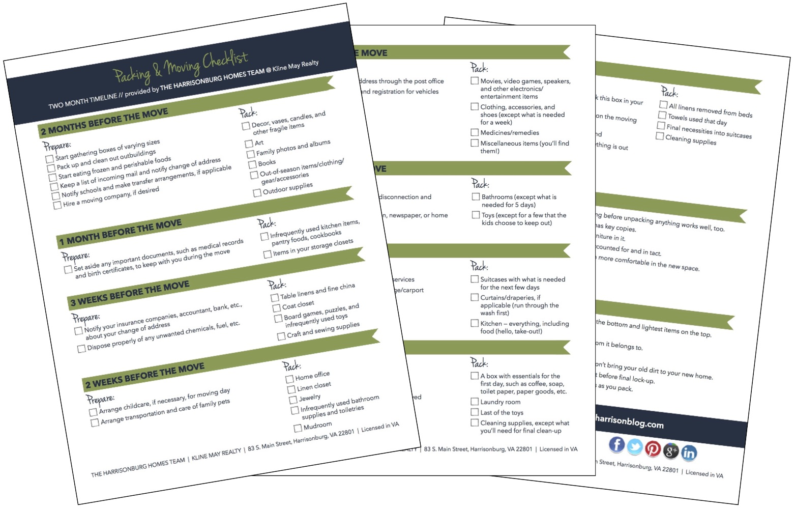 Packing and Moving Checklist [printable] | The Harrisonburg Homes Team