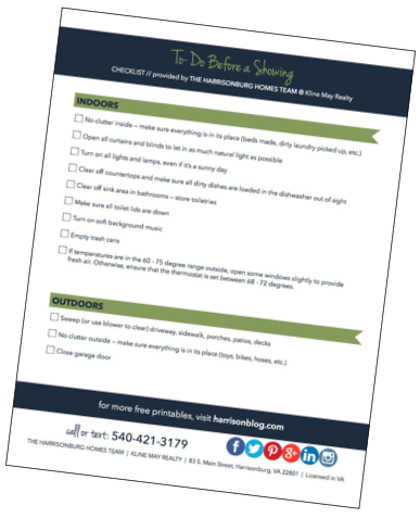 Sell Your Home Without Stress: Free Printable Pre-Showing Checklist   The Harrisonburg Homes Team