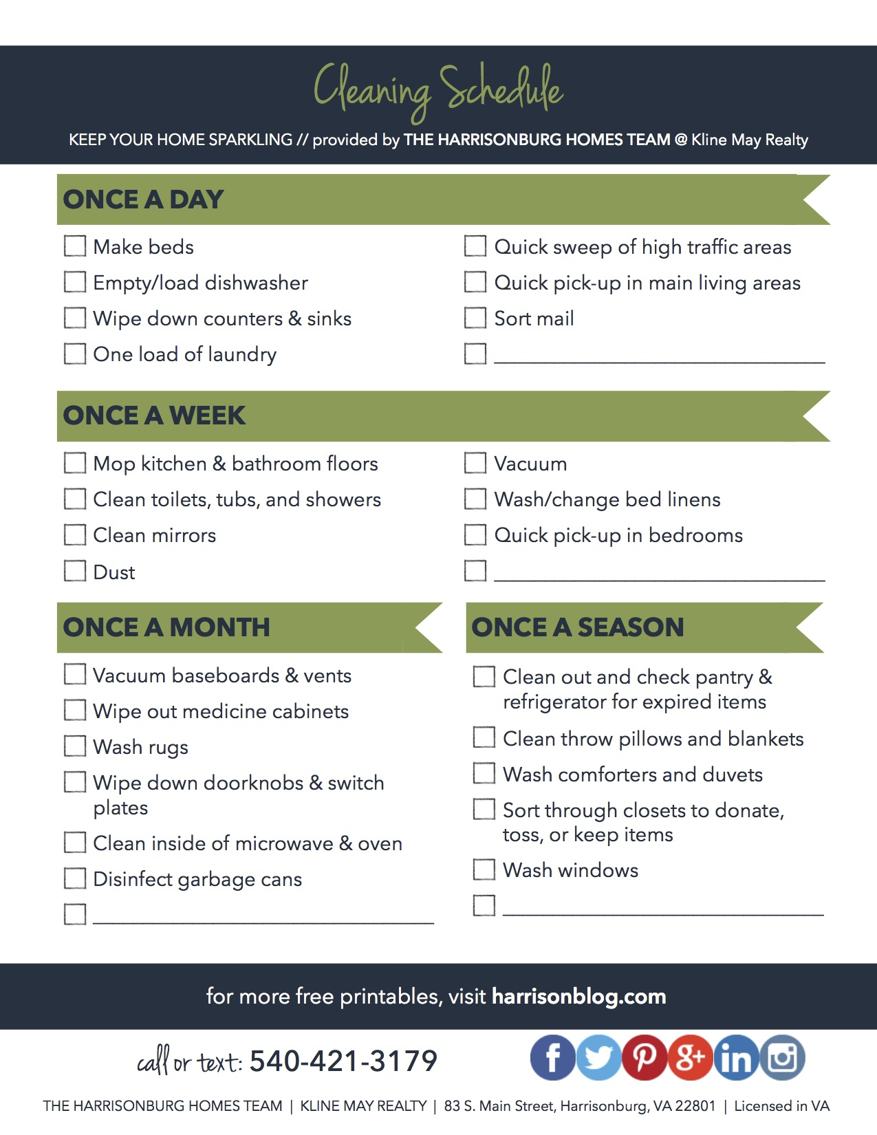 Simple Cleaning Schedule [PRINTABLE]