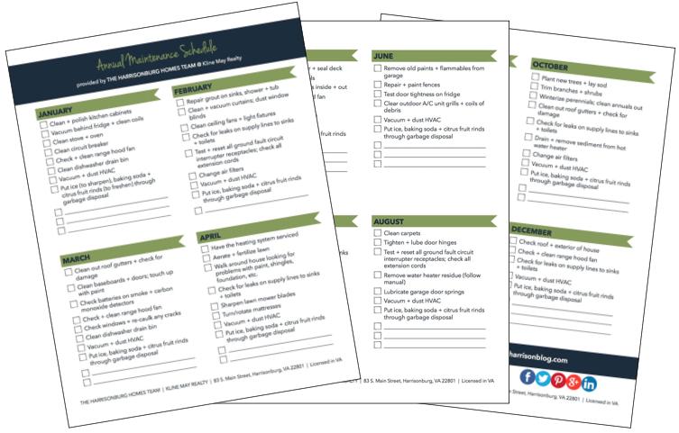 Printable Annual Home Maintenance Schedule   Harrisonblog