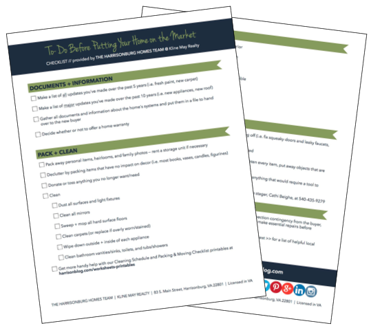 Tasks to complete before putting your home on the market [printable checklist]   The Harrisonburg Homes Team