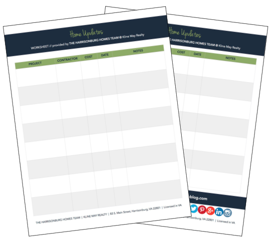 The Easiest Way to Prove Your Home's Increased Value: Project Tracking Worksheet [PRINTABLE]   Harrisonblog