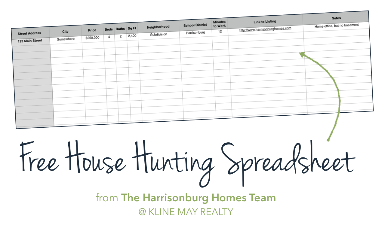 Free House Hunting Spreadsheet | The Harrisonburg Homes Team @ Kline May Realty