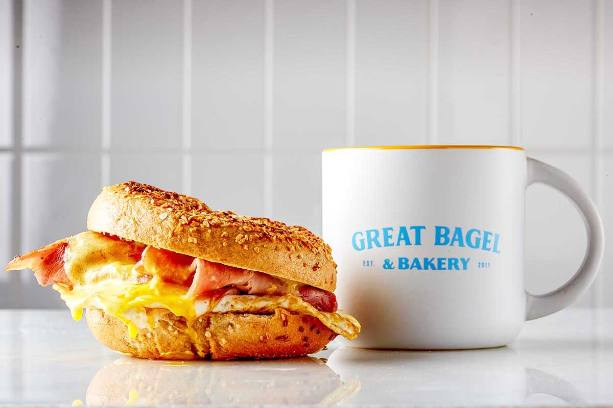 breakfast bagel eggs benedict and coffee at Great Bagel & Bakery in Lexington, KY