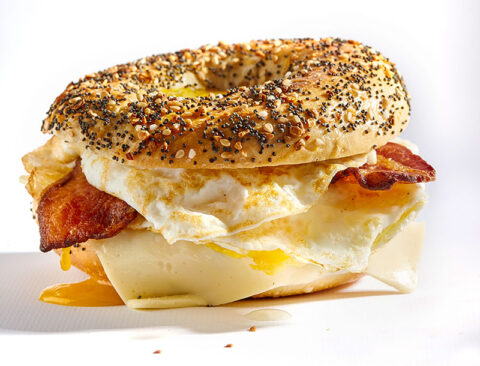 Breakfast bagel with bacon, egg, cheese