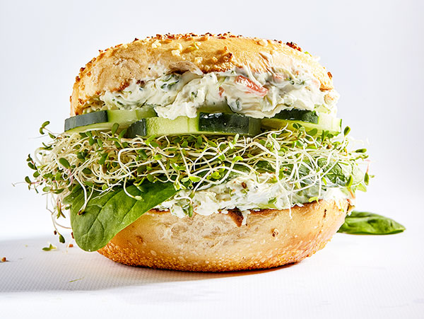 Healthy sprout and cream cheese bagel sandwich