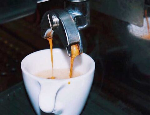 Espresso brewing at Great Bagel & Bakery