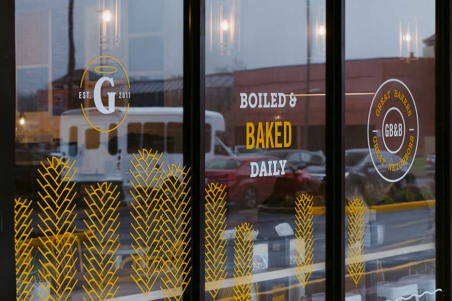 Great Bagel & Bakery, Boston Road store windows at our Boston Road location. Our bagels are boiled and baked daily.