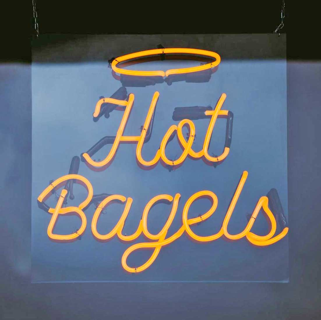 Great Bagel & Bakery Woodland. Neon sign, Hot Bagels!