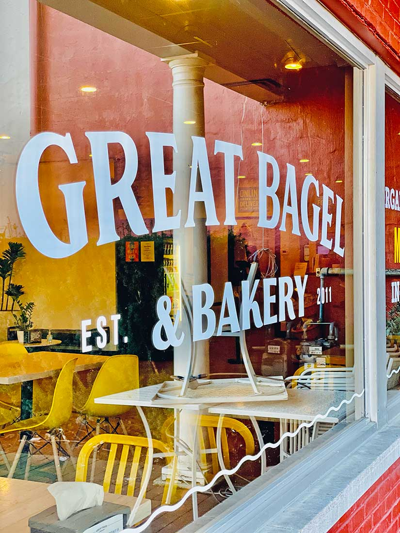Great Bagel & Bakery Woodland location store window