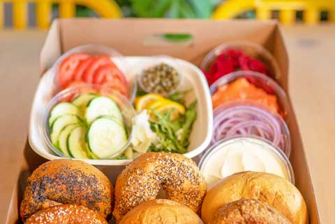 catered bagel and cream cheese and spreads box from Great Bagel & Bakery