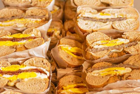 Catered breakfast bagel sandwiches from Great Bagel & Bakery in Lexington, KY