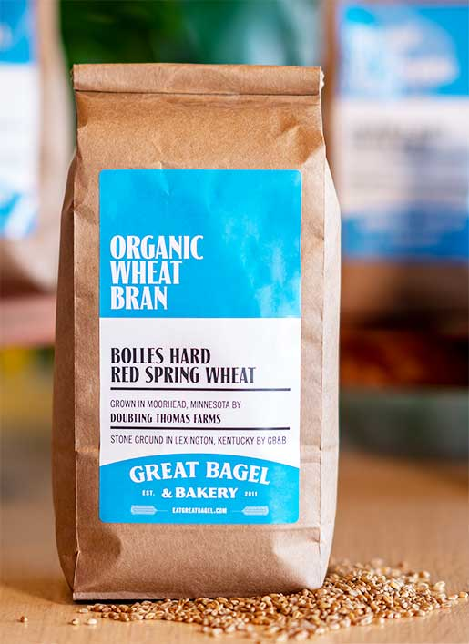 Organic all-purpose flour and wheat bran, milled at Great Bagel & Bakery in Lexington, KY