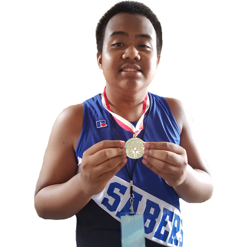 High School athlete with gold medal