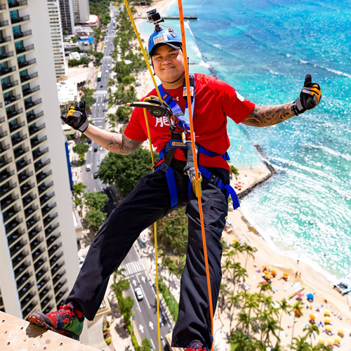 Man going over the edge