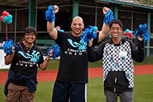 cheering volunteers