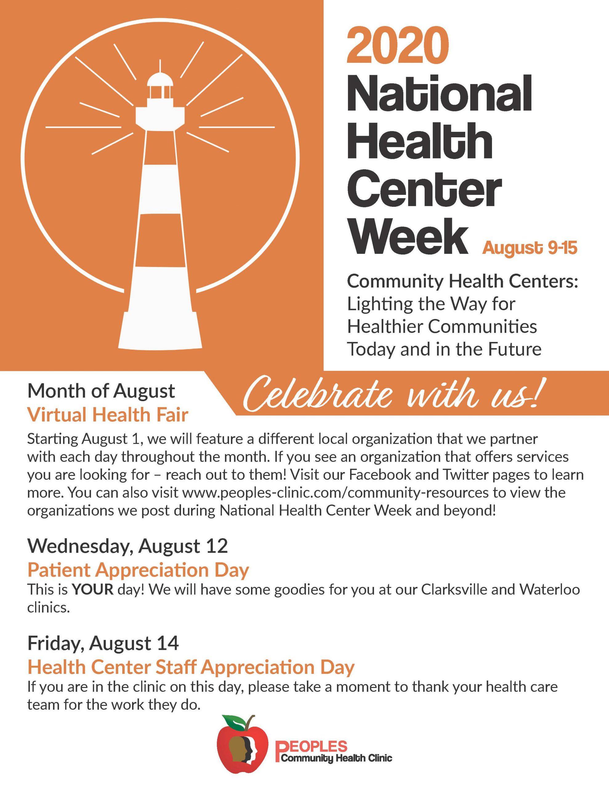 National Health Center Week Schedule - 2020