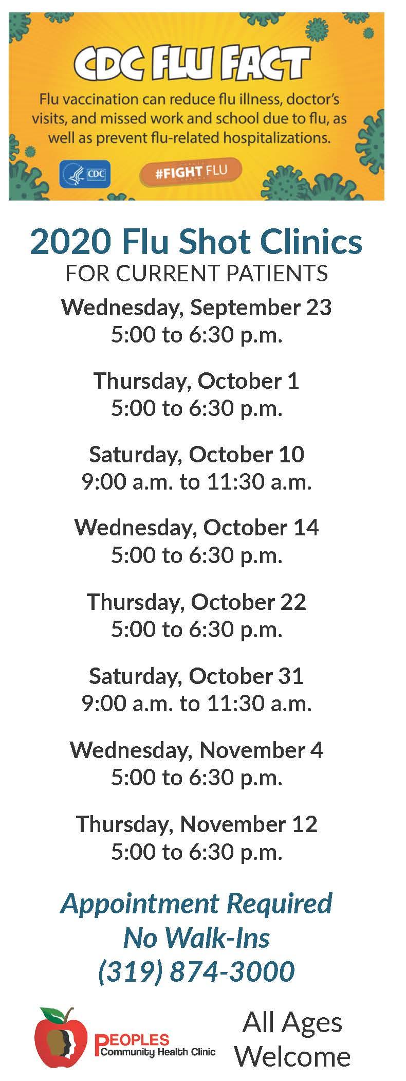 2020 Flu Shot Clinic Schedule