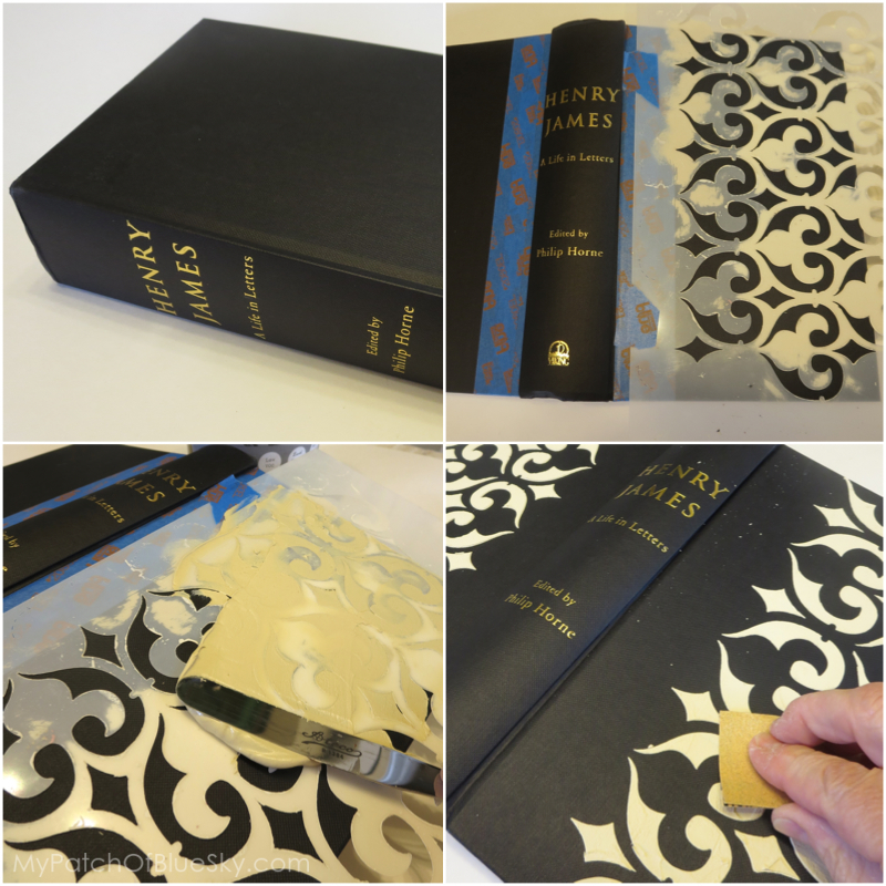 Wood Icing™ - stencil - book - pattern - gold leaf antiqued