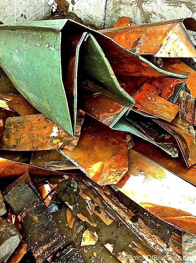 Copper patina at the salvage yard