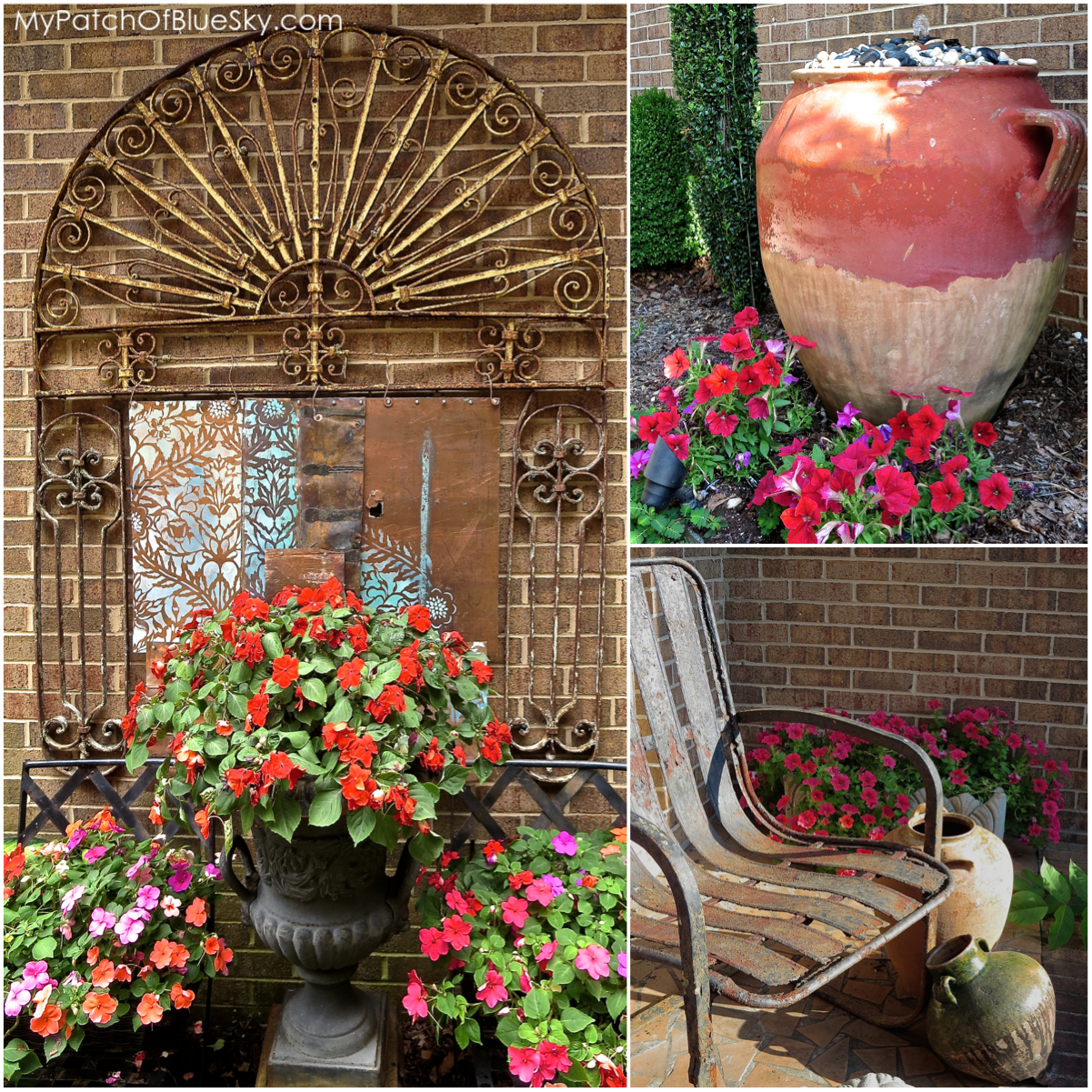 Front courtyard with art and flowers.