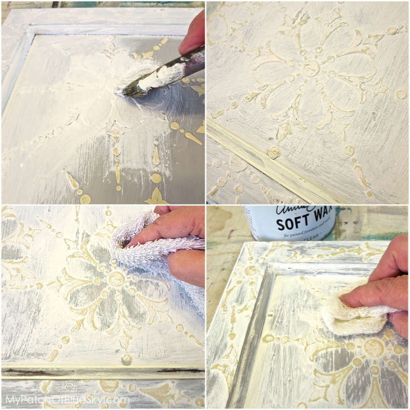 Wood Icing™ cabinet finish using Textura Paste, a stencil and Chalk Paint®