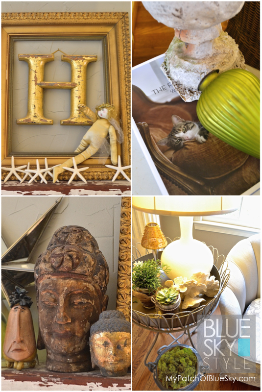 Gilded items, odd heads and succulents add interest