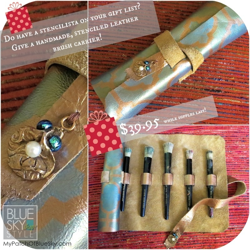 Buy this handmade leather stencil brush holder