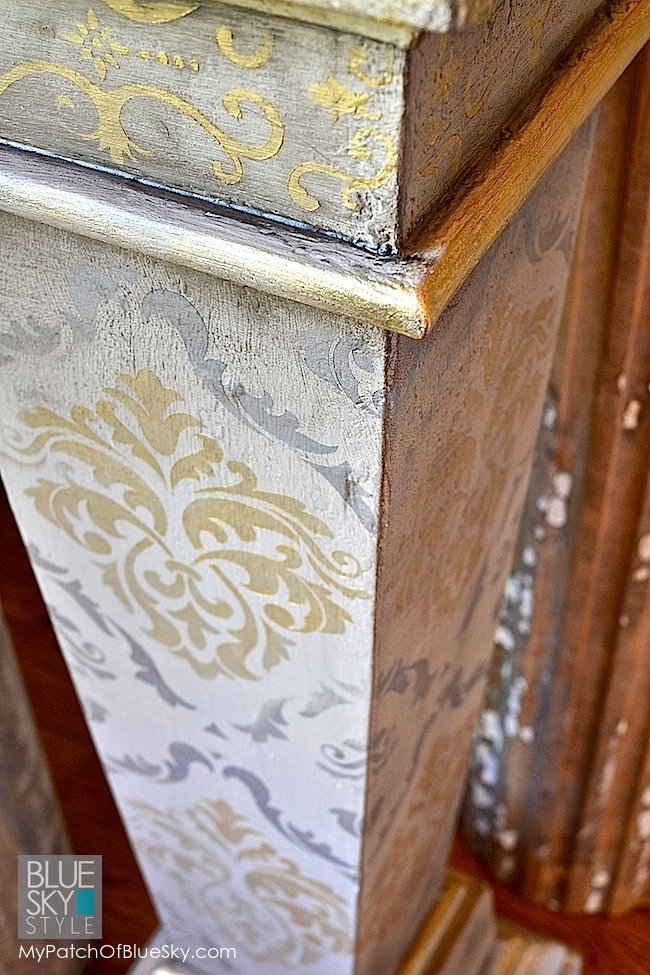 Fusion Mineral Paint stenciled and gilded plant stand project.