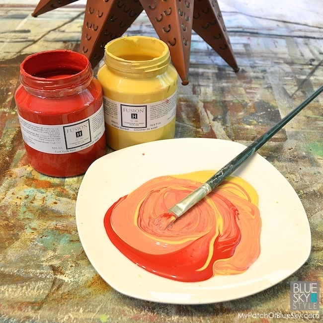 Fusion Fork York Red & Prairie Yellow Mineral Paint, Pale Gold, Copper & Silver Metallics and a paint brush