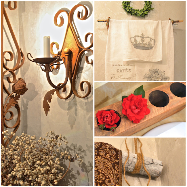 Rustic bath accents and a pearly wall finish update a tiny powder room.