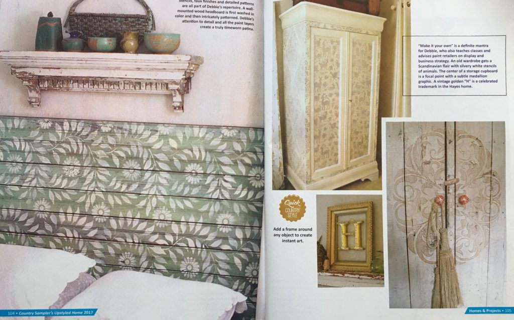 Projects in Upstyled Home magazine, stenciled with Royal Design Studio stencils, by Debbie Dion Hayes