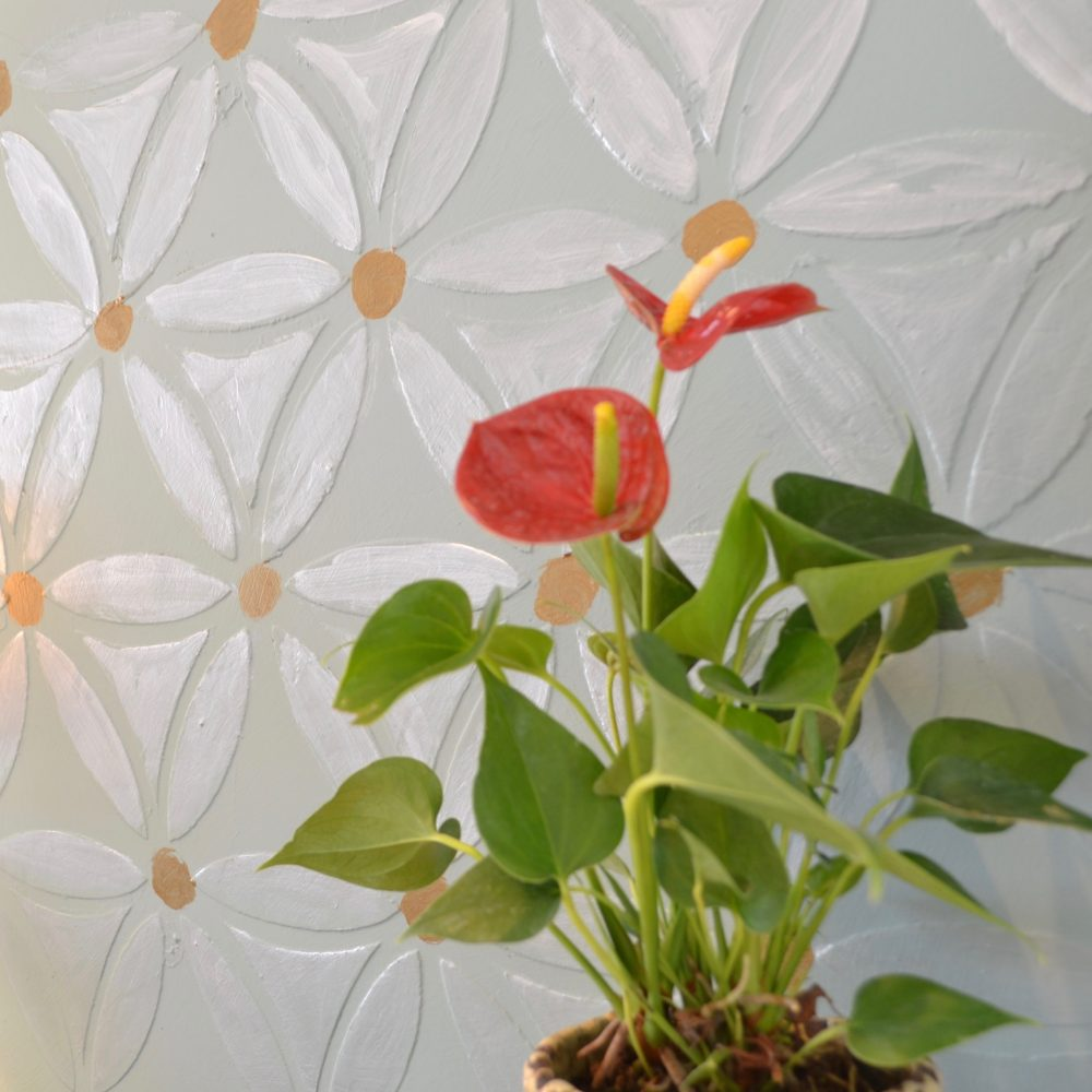 My Patch Of Blue Sky   How To Use Wood Icing And A Stencil To Create A Large Floral Wall Finish