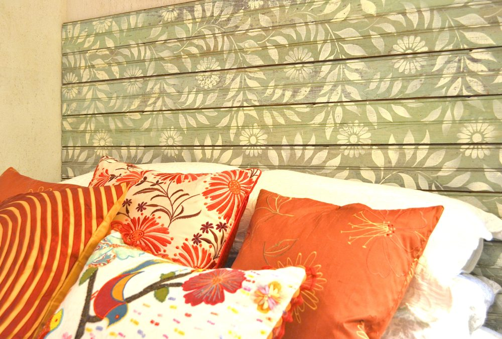 My Patch Of Blue Sky | How To Make A Headboard From Old Beadboard Using Royal Design Studio Stencils